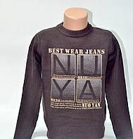 Молодежный коричневый свитер Many&Many с принтом