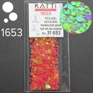 KATTi Блестки в пакете 1653 красный хамелеон салатовый перелив круглые микс 1-2-3мм