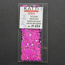 KATTi Блестки в пакете 1654 малиновый хамелеон салатовый перелив круглые микс 1-2-3мм, фото 2