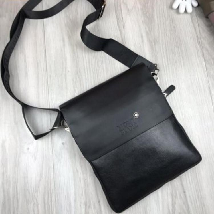 Брендовая мужская сумка-планшетка Mont Blanc черная эко кожа качественная Мон Блан премиум реплика