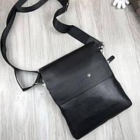 2495cfd37508 Брендовая мужская сумка-планшетка Mont Blanc черная эко кожа качественная  Мон Блан премиум реплика