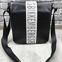 Молодежная сумка-планшет Bikkembergs черная планшетка через плечо прессованная кожа полевая Биккемберг реплика