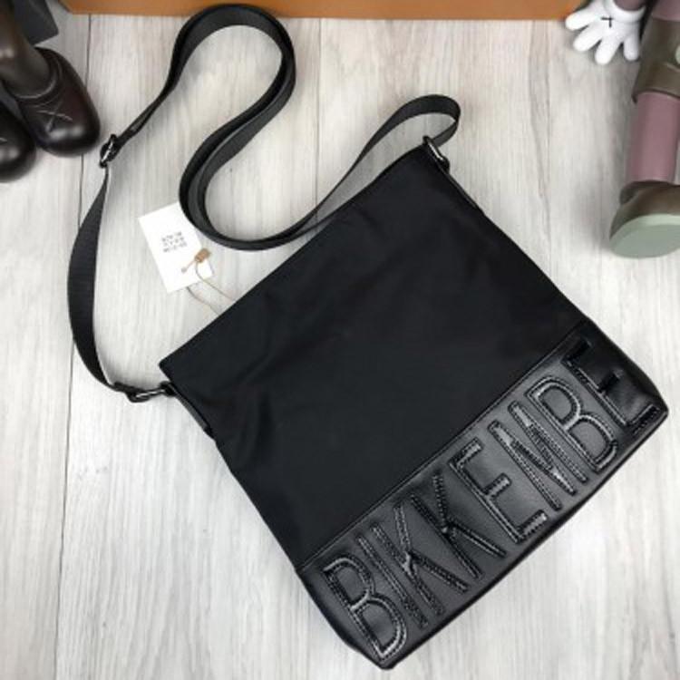 3f74581a43e2 Стильная мужская сумка-планшетка Bikkembergs черная кожа PU текстиль через  плечо Биккембергс люкс реплика