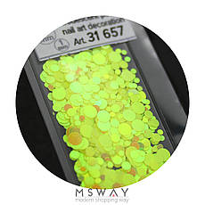 KATTi Блестки в пакете 1657 желтый хамелеон салатовый перелив круглые микс 1-2-3мм, фото 3