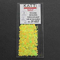 KATTi Блестки в пакете 1657 желтый хамелеон салатовый перелив круглые микс 1-2-3мм, фото 2