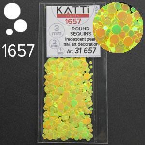 KATTi Блестки в пакете 1657 желтый хамелеон салатовый перелив круглые микс 1-2-3мм