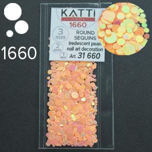KATTi Блестки в пакете 1660 персиковый хамелеон салатовый перелив круглые микс 1-2-3мм
