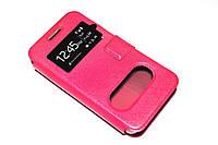 Кожаный чехол книжка для Huawei Ascend Y330-U11 розовый, фото 1