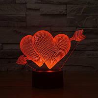 3D светильник 3D Lamp Сердца (LP-624), фото 1