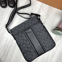 Трендовая женская сумка-планшетка  Coach серая планшетка через плечо эко-кожа Коач премиум реплика