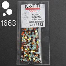 KATTi Блестки в пакете 1663 светло голубые и бронзово коричневые микс точки 2мм