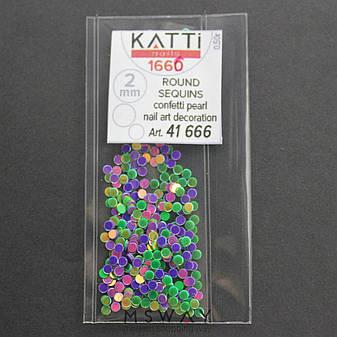 KATTi Блестки в пакете 1666 зеленые и фиолет микс точки 2мм, фото 2