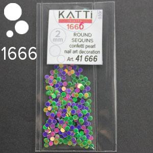 KATTi Блестки в пакете 1666 зеленые и фиолет микс точки 2мм