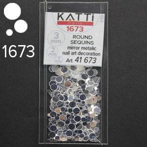 KATTi Блестки в пакете 1673 серебро зеркальные микс 1-2-3мм, фото 2