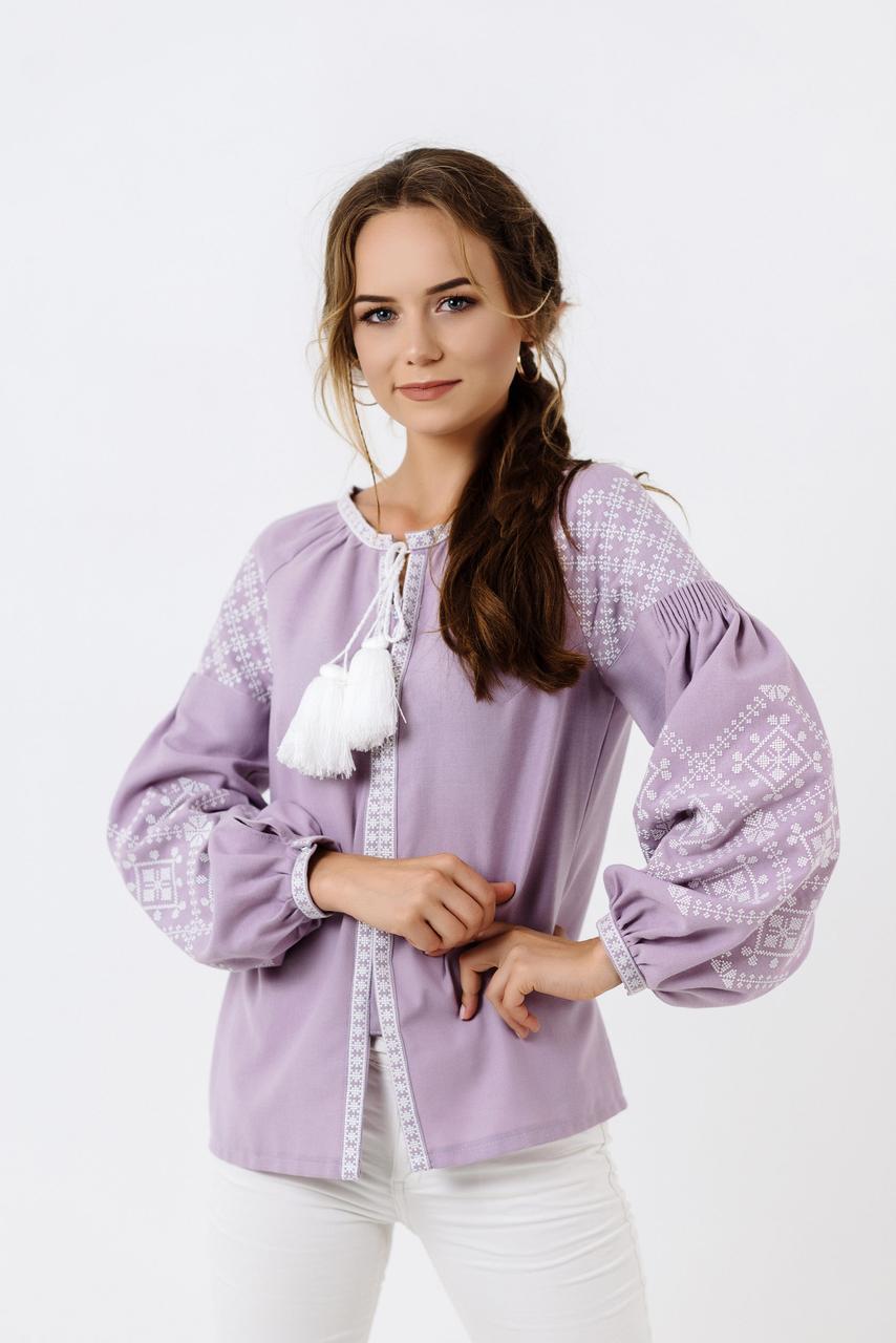 485310ad322 Светло фиолетовая вышитая блузка с длинным рукавом купить недорого в ...