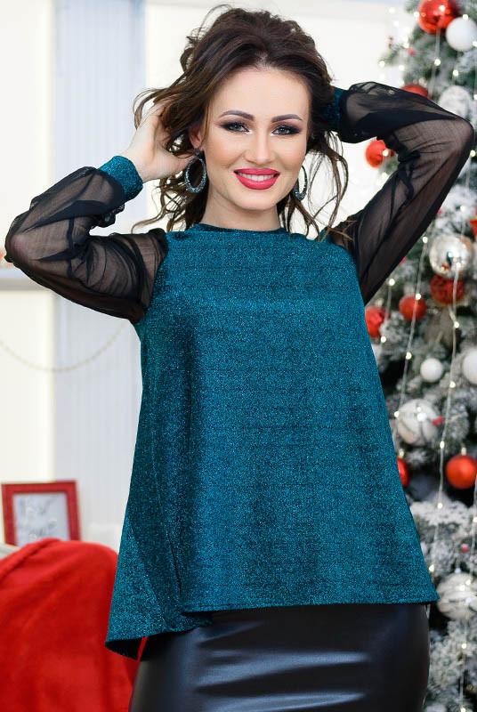 Жіноча блузка Мадлен, смарагдового кольору