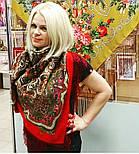 Сказочница 1763-5, павлопосадский платок шерстяной (двуниточная шерсть) с шелковой вязаной бахромой, фото 10