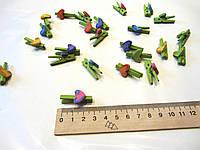 Мини прищепки деревянные, разноцветные сердечки  12 шук