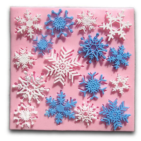 Рождественский снежинка Fondant Mold Cake Силиконовый Mold Decorating Инструмент 1TopShop