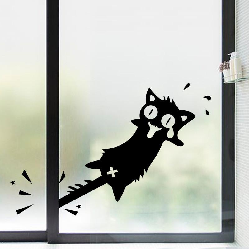 HonanaМультфильмклипнахвостКот стикер стены резные ПВХ для дома двери окна декор декорации 1TopShop
