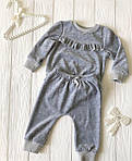 Костюмчик с рюшами велюровый  для младенца Серый, фото 2