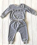 Костюмчик с рюшами велюровый  для младенца Серый, фото 7