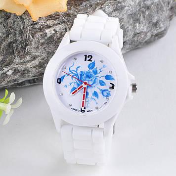 Женские часы с силиконовым ремешком (цвет белые с рисунком синяя роза)