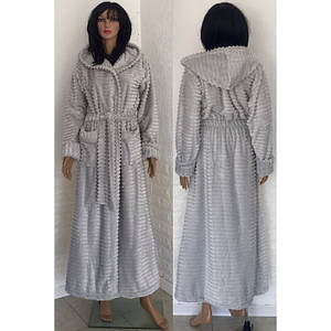 Женский длинный махровый халат с поясом и капюшоном 48-54 р, женские халаты оптом от производителя