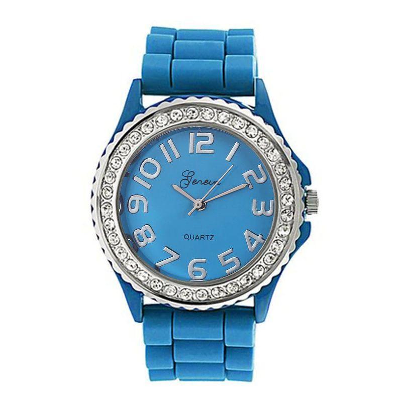 Женские часы с силиконовым ремешком (цвет синий)