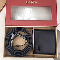 Ремень и кошелек набор мужской натуральная кожа черный брендовый от Levi's