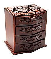 Шкатулка резная для украшений 4 отделения (19х17х13см),оригинальные подарки,шкатулки из дерева