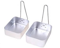 Посуда туристическая, алюминий (2 шт кастрюля-сковорода с ручками) (Од)