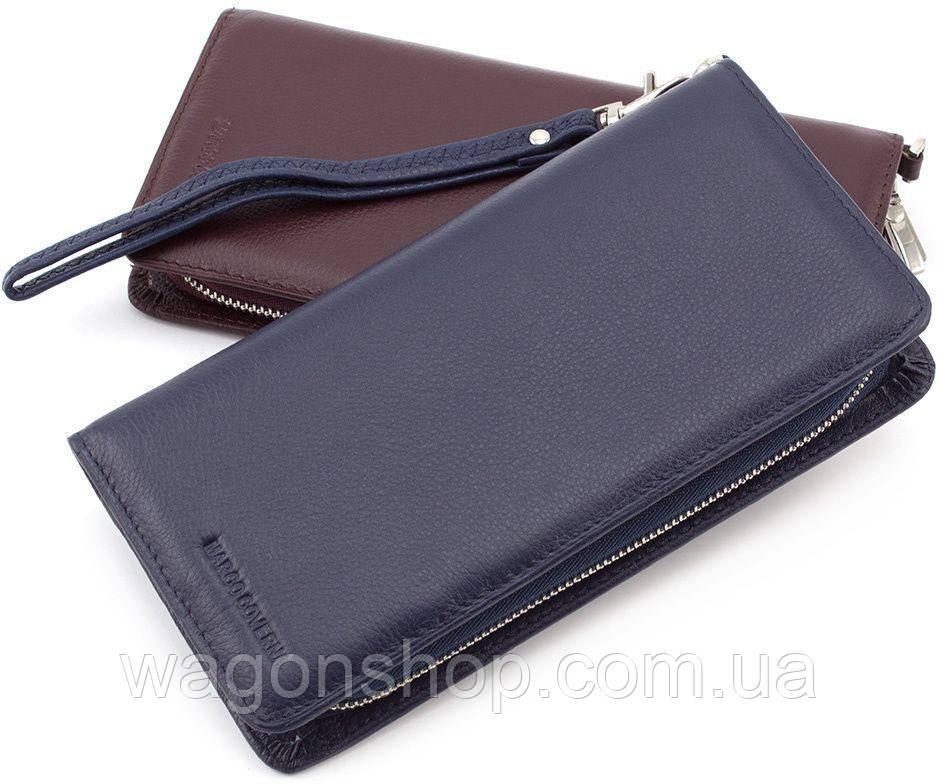 4406bfd78a9f Синего цвета кожаный кошелек на молнии с блоком для карт Marco Coverna