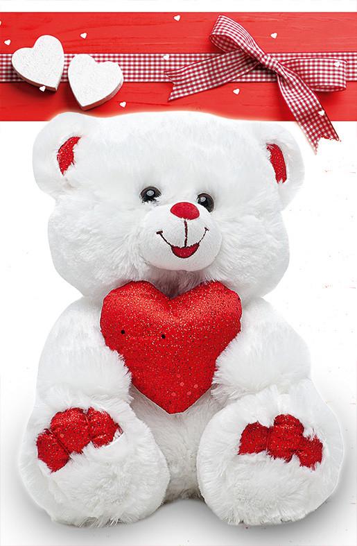 """Пакет для подарка большой вертикальный """"Мишка с сердцем"""" 25х37 см  (6 шт/уп)"""