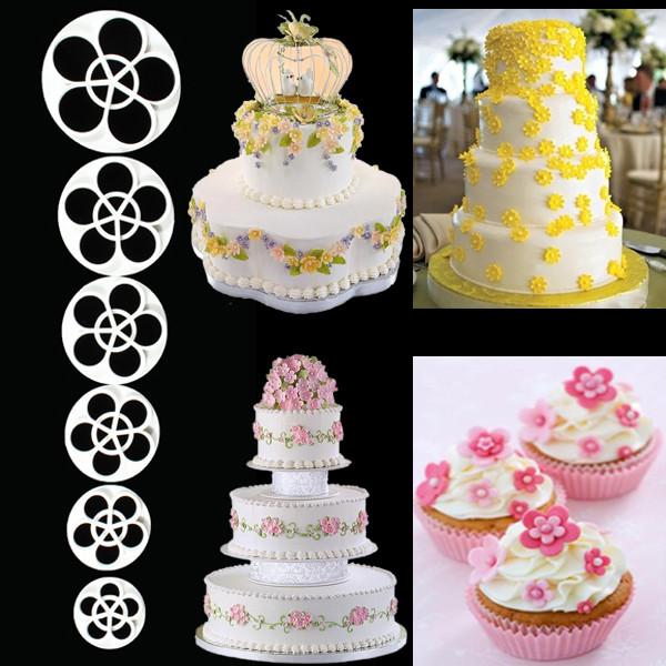 6шт сливы цветок fondant торт sugarcraft резца плесень 1TopShop