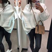 Женский теплый объемный свитер под горло в стиле Zara молочный, фото 1