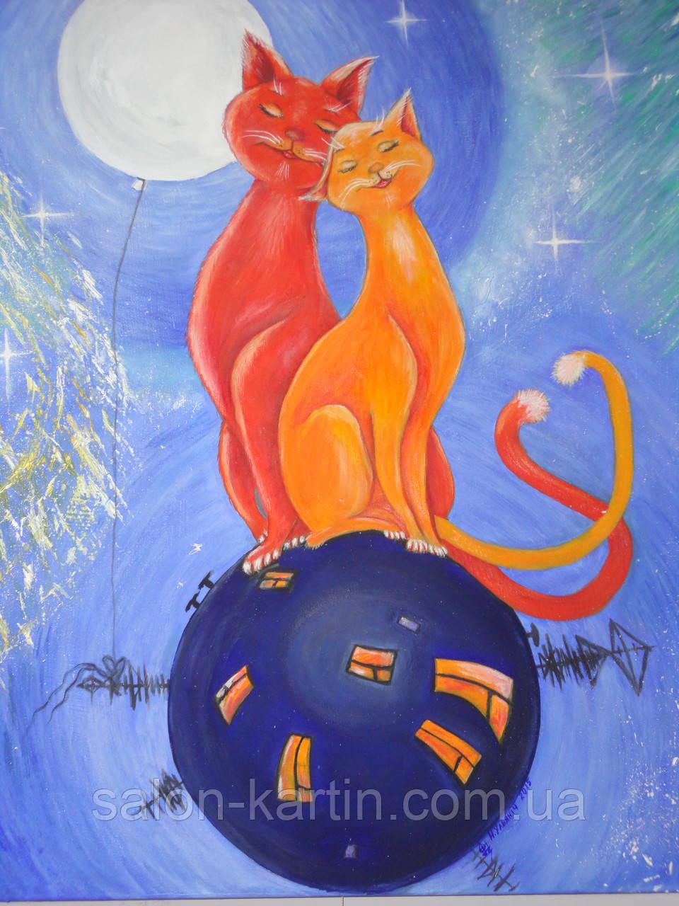 """Картина """"Рыжие коты в космосе"""""""