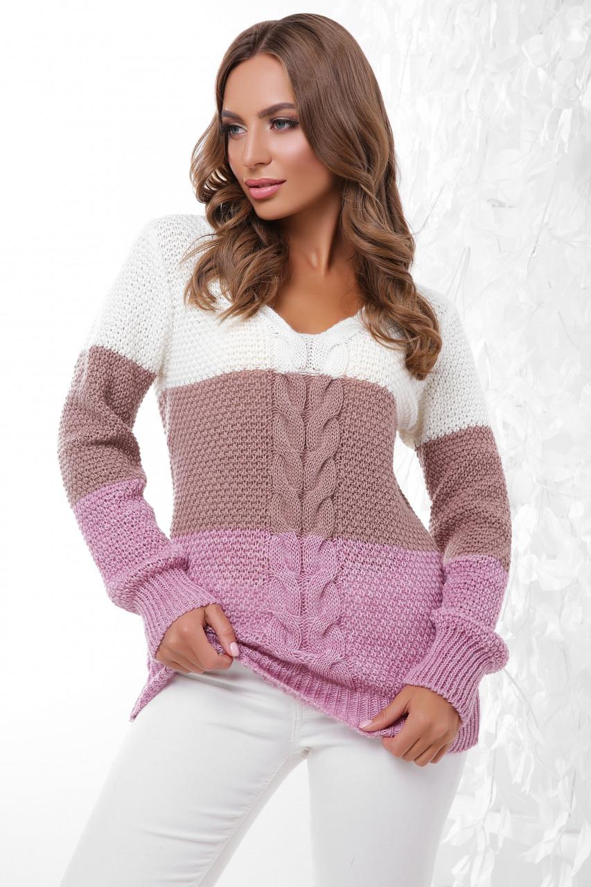 Женский вязаный трёхцветный свитер, размер 44-48