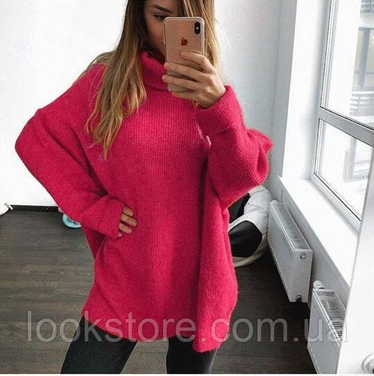 Женский теплый объемный свитер под горло в стиле Zara малиновый