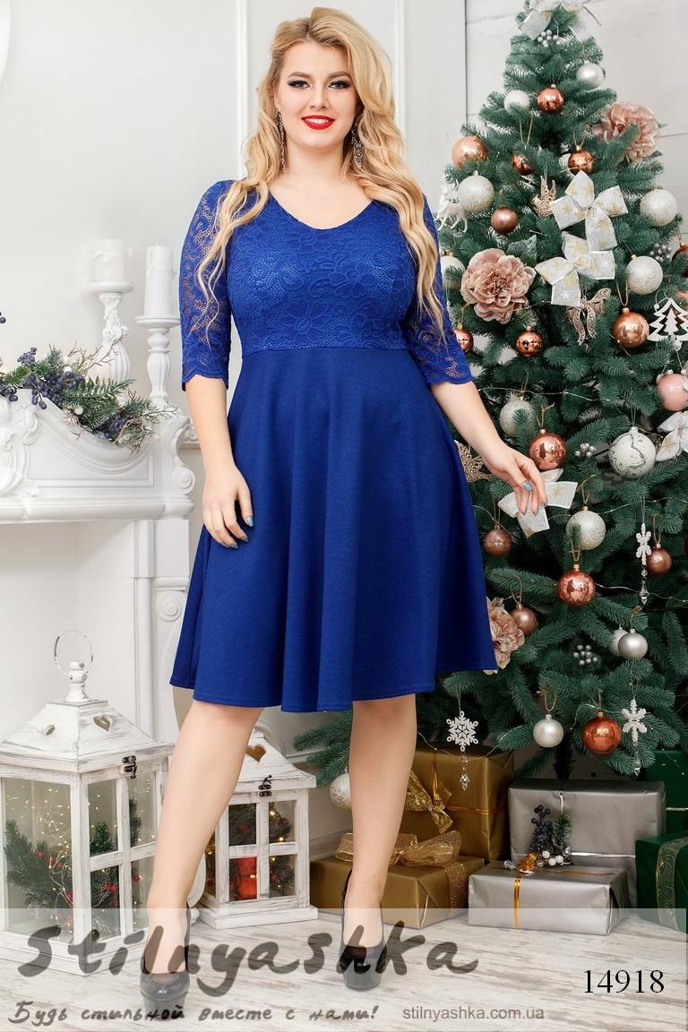 Большое романтичное платье индиго, фото 1