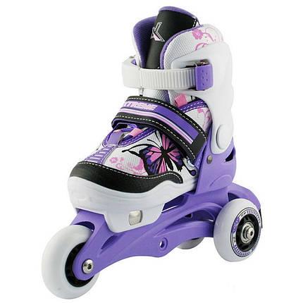 Дитячі роликові ковзани регульовані 2в1 NJ9128 NILS 26-29 фіолетові, фото 2