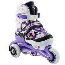 Дитячі роликові ковзани регульовані 2в1 NJ9128 NILS 26-29 фіолетові, фото 3