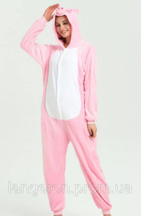Пижама кигуруми kigurumi костюм розовая Хрюша Свинья рост 160-170 L символ  наступающего года 2019 2f1c2c1be3e17