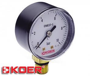 """Манометр радиальный Koer 0-10 bar D-50мм 1/4"""" KM.502R"""