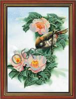"""Схема для частичной вышивки """"Цветы с птицей"""""""