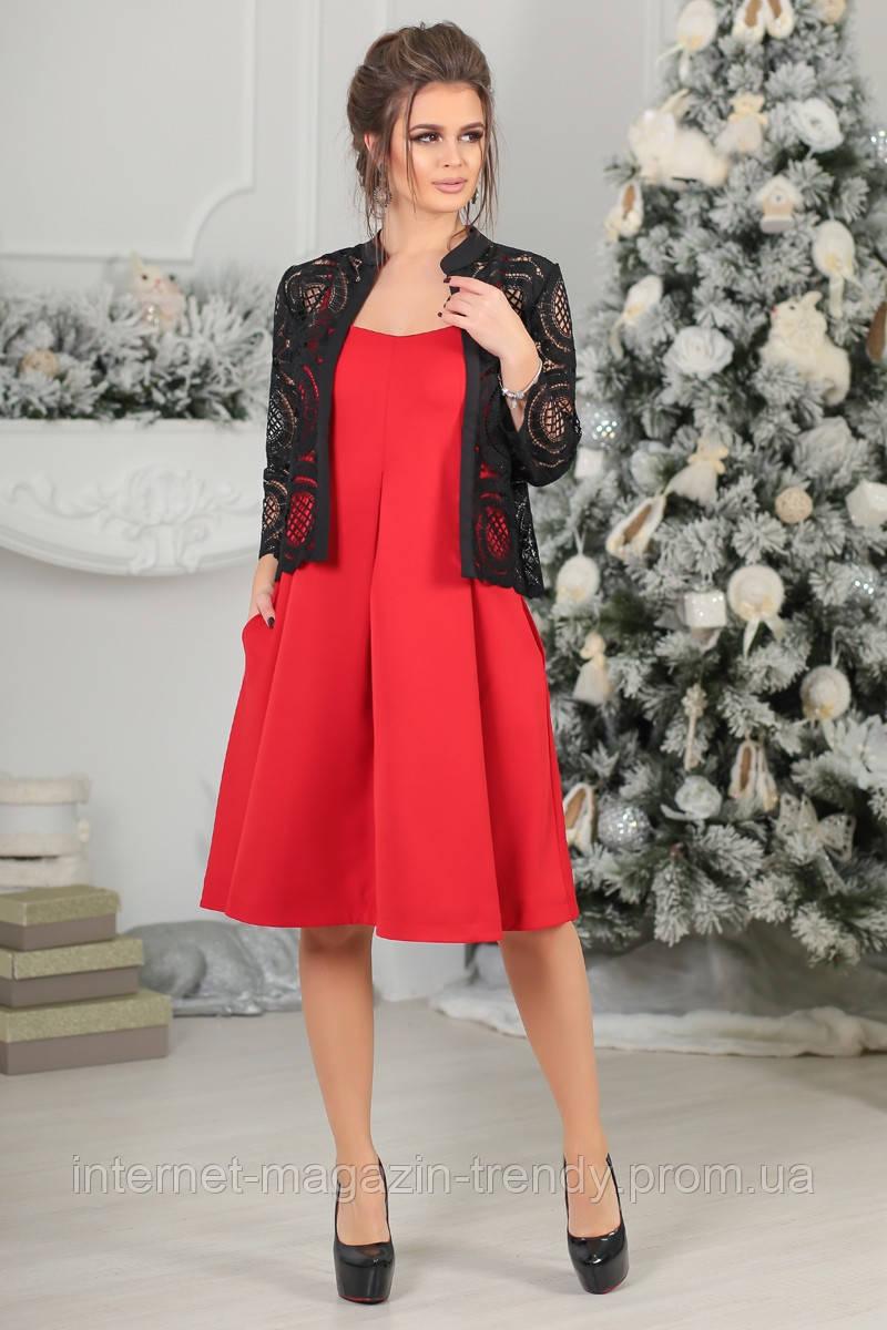 Платье на бретелях в комплекте с болеро (в красном,черном и бордовом цвете) Р50364075