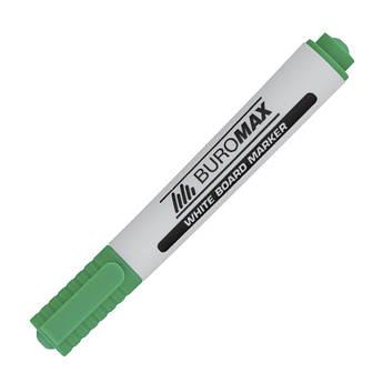Маркер для магнітних сухостираємих дошок, зелений, круглий пишучий вузол, Buromax BM.8800-04