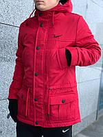 Комплект зимняя мужская красная парка (куртка) Nike + утеплённые штаны + 2 подарка !, фото 1