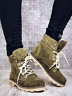 Женские зимние ботинки в стиле Тимберленд оливкового цвета