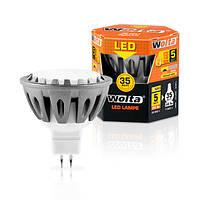 Светодиодная лампа Wolta 5Вт (35Вт)  GU5.3, теплый 30YMR16-220-5GU5.3